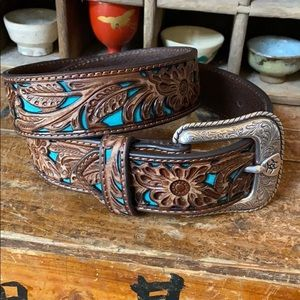 Ariat tooled leather western belt